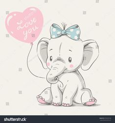 Cute elephant with balloon hand drawn vector illustration. Can be used for t-shi… Cute elephant with balloon hand drawn vector illustration. Can be used for t-shirt print, kids wear fashion design, baby shower invitation card. Baby Elephant Drawing, Elephant Art, Elephant Nursery, Cute Elephant Cartoon, Elephant Images, Cartoon Drawing For Kids, Cartoon Drawings, Cute Drawings, Baby Shower Invitation Cards