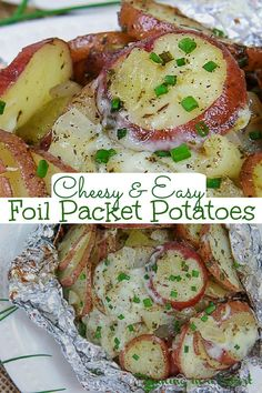 Foil Packet Potatoes for the grill, oven, or campfire! These Cheesy Foil Packet Grilled Potatoes use two different types of cheese (parmesan and mozzarella) and are the perfect healthy cookout side dish for dinners at home, bbq, or for camping. Use red potatoes, russet or sweet potatoes. Easy, simple, healthy with no clean up! You'll love this Garlic Parmesan Potato Recipe! Vegetarian, Gluten Free / Running in a Skirt #cookout #sidedish #healthy #dinner #foilpacket #grilling #campfirerecipe Russet Potato Recipes, Easy Potato Recipes, Potato Side Dishes, Side Dishes Easy, Side Dish Recipes, Easy Dinner Recipes, Savoury Dishes, Grilled Vegetable Recipes, Grilling Recipes