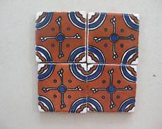 25-T12 3x3 Talavera Decorative Tile in Blue/Terracotta
