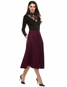 Special Offer: $25.90 amazon.com Material: 65% Polyester and 35% Cotton.High waisted, solid color, no lining. A-line style, swing design, full length, double side pockets.Thick high quality material. 2 very enthusiastic thumbs up.Confortable,nice color. Elegant and classic style, suitable...