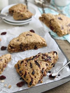 Balsamic Cherry Dark Chocolate Scones. Sweet, tart and crumbly, perfect for breakfast or a snack.