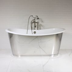 NEW Lindisfarne' Cast Iron French Bateau Tub Package with Mirror Polished Stainless Steel Exterior Cast Iron Bath, Classic Bathroom, Main Bathroom, Freestanding Cast Iron Tub, Tub, Mobile Home Makeovers, Bathtubs For Sale, Bathroom Redo, Bathroom Inspiration