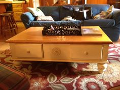 Pottery Barn coffee table, $20 at Santee Salvation Army. Part of the Great Haul we made when they did 75% discounts.