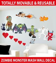 Wholesale Printers, Zombie Monster Mash MOVABLE Wall Stickers - Totally Movable, $7.95 (http://www.wholesaleprinters.com.au/zombie-monster-mash-wall-stickers-totally-movable)