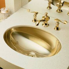 I pinned this Rhythm Bathroom Sink in French Gold from the Kohler event at Joss and Main!
