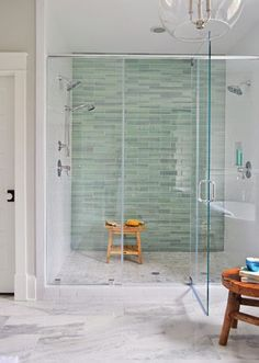 a house full of sunshine get the look 35 beautiful bathrooms with frameless glass - Bathroom Designs Using Glass Tiles