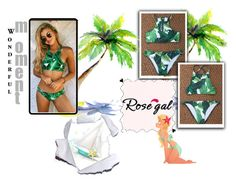 """Palm Leaf Print High Neck Bikini"" by slavka-jovic ❤ liked on Polyvore"