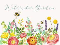 Watercolor Garden by Verdigris Studios on @creativemarket