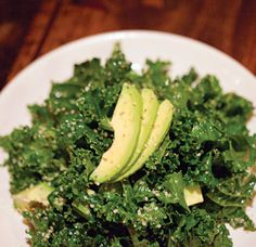 Asian Kale and Avocado Salad by saveur: A refreshing version! #Salad #Kale #Avocado #saveur
