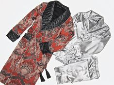 Men s luxury paisley silk jacquard dressing gown with quilted silk shawl  collar and satin pajamas set. Monogrammed robes and pyjamas for men. fc3573152