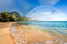 rainbow paradise beach paradise rainbow over tunnels beach on the north shore of Kauai. Hawaiian Rainbow over beach. Haena, Kauai, Hawaii, USA Resort vacation destination