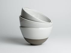 Gray Bowl with white glaze / / minimalist dish for breakfast