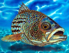 Jean-Baptiste.com Silk Painting of a red salmon