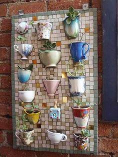 Mosiac Coffee Mug Planter