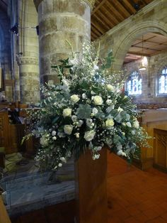 Wedding Flower Arrangements White delphinium, white gladioli, white september flower, white eustoma, white avalanche roses and cinerea eucalyptus. Church Wedding Flowers, Church Wedding Decorations, White Wedding Flowers, Funeral Flowers, White Flowers, Beautiful Flowers, Wedding Centerpieces, Wedding Bouquets, Easter Flower Arrangements
