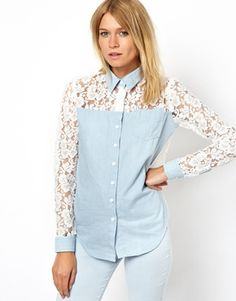Image 2 ofASOS Denim Shirt with Lace Back and Sleeve Detail