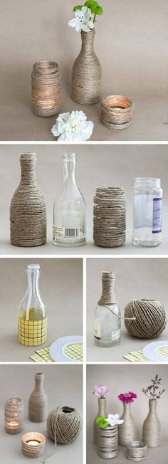 Upcycled Glass Bottles & Jar Vases | Click Pic for 21 Easy DIY Mothers Day Gift Ideas in a Jar | DIY Gifts in a Jar for Friends
