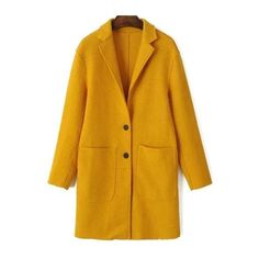 Wool Blend Pockets Coat ($26) ❤ liked on Polyvore featuring outerwear, coats, pocket coat, wool blend coat and yellow coats
