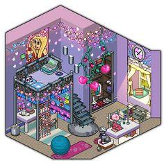 Girly bedroom design by Cutiezor on DeviantArt Habbo Pixel, Pixel Art, Kawaii Wallpaper, New Wallpaper, Bedroom Wallpaper, Wallpaper Ideas, Bedroom Drawing, Isometric Art, Building Art