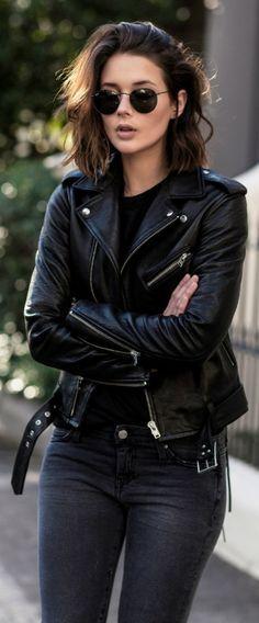 justthedesign Leather jacket black jeans rimless sunnies This IS the rocker girl style Via Sara Donaldson Jacket IRO Tshirt IRO Jeans IRO Shoes Aquazzura Pumps Sunnies Ra. Look Fashion, Autumn Fashion, Womens Fashion, Fashion Black, Fashion Edgy, Luxury Fashion, Rocker Fashion, Dress Fashion, Classic Fashion