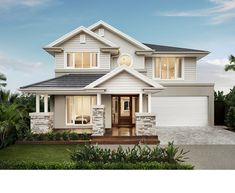 Genuinely Breathtaking Bayville Home Design By Metricon Double Story House, Two Story House Design, House Front Design, Modern House Design, Meridian Homes, Model House Plan, Facade House, House Facades, Storey Homes