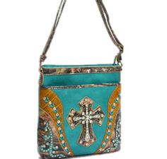 Turquoise leatherette w/ cross handbag! Perfect for those days when you want to be unique! #handbags #unique #fashion #bags