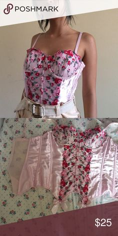 Pastel Pink Corset Ah so pretty this boned corset is so silky and fun! It has floral rose patterning with mesh inserts under the pattern and in the back! It's marked a size 36 so should fit 36 A to C maybe D! Frederick's of Hollywood Intimates & Sleepwear
