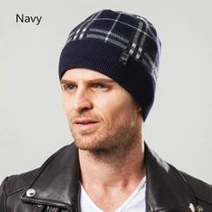Plaid knit hats for men winter beanie hats minimalist design