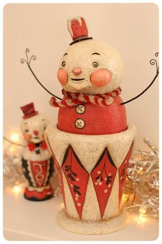 Snowmen candy containers by Johanna Parker.
