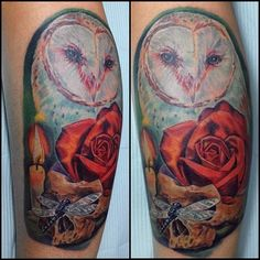 Stephanie Marazzo, artist Javier Eastman realistic barn owl, skull, and rose color tattoo