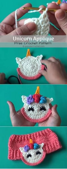Crochet Gift Design Unicorn Crochet Applique 1 - Applique are great items to use to decorate just about anything - bags, clothes, accessories. I just love them, be it sewn or crochet. This lovely unicorn Crochet Applique Patterns Free, Baby Applique, Crochet Appliques, Crochet Unicorn Pattern Free, Crochet Stitches, Chat Crochet, Free Crochet, Irish Crochet, Learn Crochet