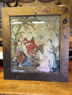 LARGE 19th CENTURY NEEDLEPOINT TAPESTRY WITH GLASS FRAME
