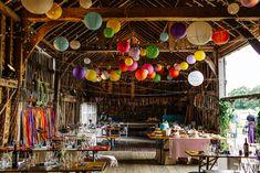 Secret Barn Sussex Wedding with a Rainbow DIY Colourful Theme Wedding Lanterns, Wedding Balloons, Wedding Paper Lanterns, Photography Wedding Themes, Photography Poses, Lantern With Fairy Lights, Wedding Reception On A Budget, Wedding Vows, Rainbow Wedding