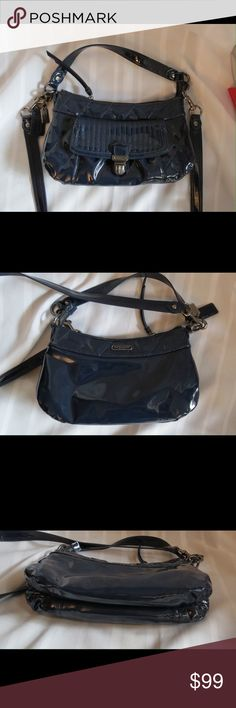 "Coach Groovy  Poppy Navy Liquid Gloss Crossbody Excellent  condition. Please don't let the photos full you, because it is patent leather it is reflecting like a mirror it's not defects  All of my items are Guaranteed 100% Genuine I do not sell FAKES of any kind Approx measurements are 11"" X 7"" X 3""detachable 40 inch cross body strap and 13 inch handbag Nickel hardware with a pocket on outside slip buckle clasp on it. The lining is a silver sateen with a zippered pocket with creed and a  slip…"