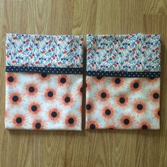 Set of 2 Standard Pillowcases - Peach & Navy - Handmade - 100% Cotton