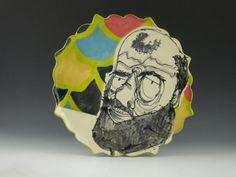 Caricature plate - Bearded balding man. $25.00, via Etsy. Catie Miller