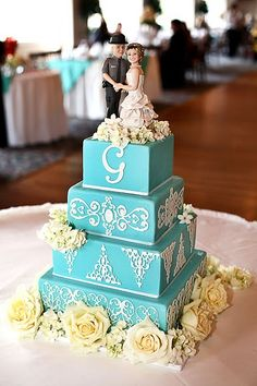 Our Tiffany blue wedding cake with custom make wedding topper :)
