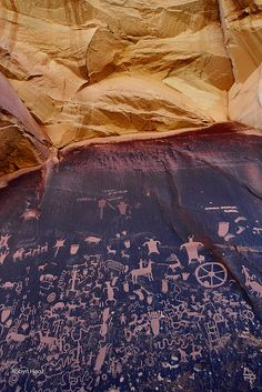 Newspaper rock, The Needles, Canyonlands National Park, Utah; photo by Robyn Hooz