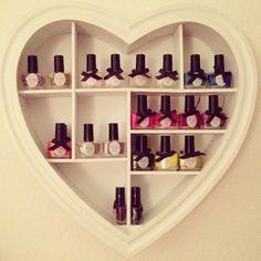 my cute nail polish storage Nail Polish Holder, Nail Polish Storage, Home Design, Interior Design, Ciate Nail Polish, Nail Polishes, Manicure, Heart Shelf, Painted Pots