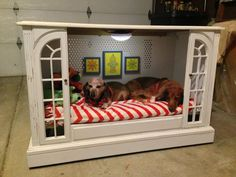 Upcycled TV Console To Dog Bed by Miss-Tints - Featured On Furniture Flippin'. I think my kids would like this, too!!