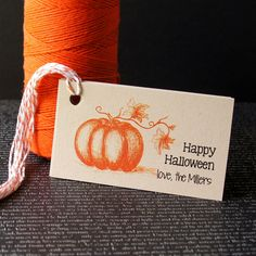 Illustrated Pumpkin Happy Halloween Personalized Tags by Scrap Bits