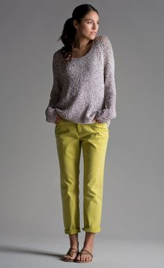 So in a miasma of greys, beiges, blacks, browns, here is a pair of chartreuse pants --startling.