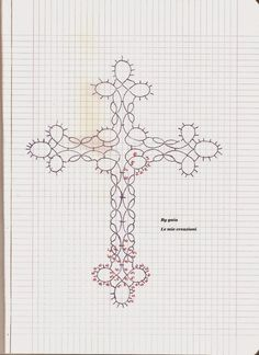Bildergebnis für croce a chiacchierino Needle Tatting Patterns, Knitting Patterns, Crochet Patterns, Tatting Jewelry, Tatting Lace, Cross Patterns, Flower Patterns, Art Du Fil, Tatting Tutorial