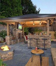 Backyard Pavilion, Backyard Patio Designs, Modern Backyard, Yard Design, Backyard Landscaping, Backyard Retreat, Outdoor Kitchen Patio, Outdoor Kitchen Design, Outdoor Kitchens