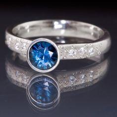 Fair Trade Blue Australian Kings Plain Sapphire Elevated Bezel Diamond Star Dust Engagement Ring   Nodeform