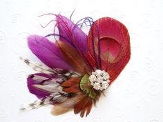 WEDDING HAIR PIECE Peacock Feather Hair Clip Bridal by WeeGardens