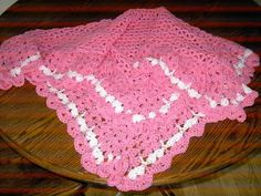 New handmade pink lace style crochet blanket with by nannycheryl