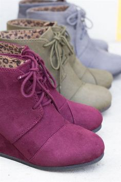 I love these suede lace up ankle boot wedges! | Shop all the daily boutique deals now on Jane's online marketplace!