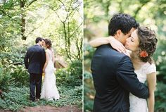 romantic wedding day kiss in the woods - photographed by bryce covey