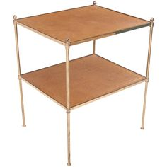 French 19th Century Brass and Leather Etagere Table | See more antique and modern Side Tables at https://www.1stdibs.com/furniture/tables/side-tables
